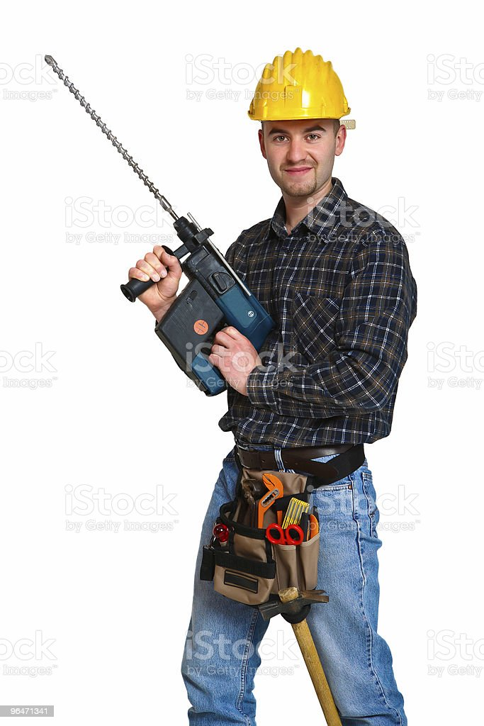 Isolated young worker with tools 8 royalty-free stock photo