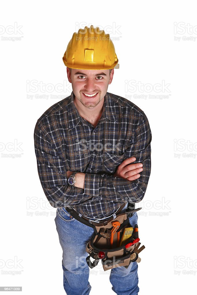 Isolated young worker with tools 9 royalty-free stock photo