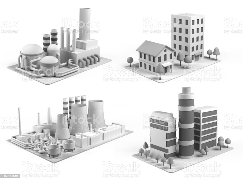 Isometric  buildings stock photo