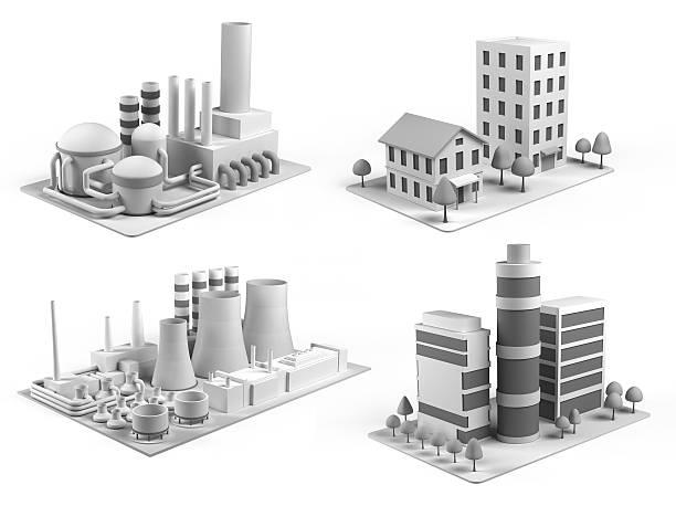 Isometric  buildings stock photo