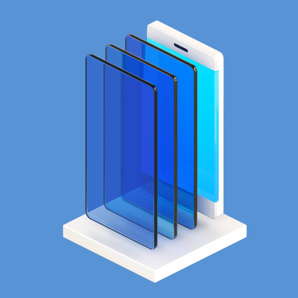 isometric cell phone with glass sheets - advertising isometric stock pictures, royalty-free photos & images