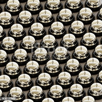 840883328istockphoto Isometric Chrome Reception Bells in a Tight Grid on a Simple Concrete Surface 908150954