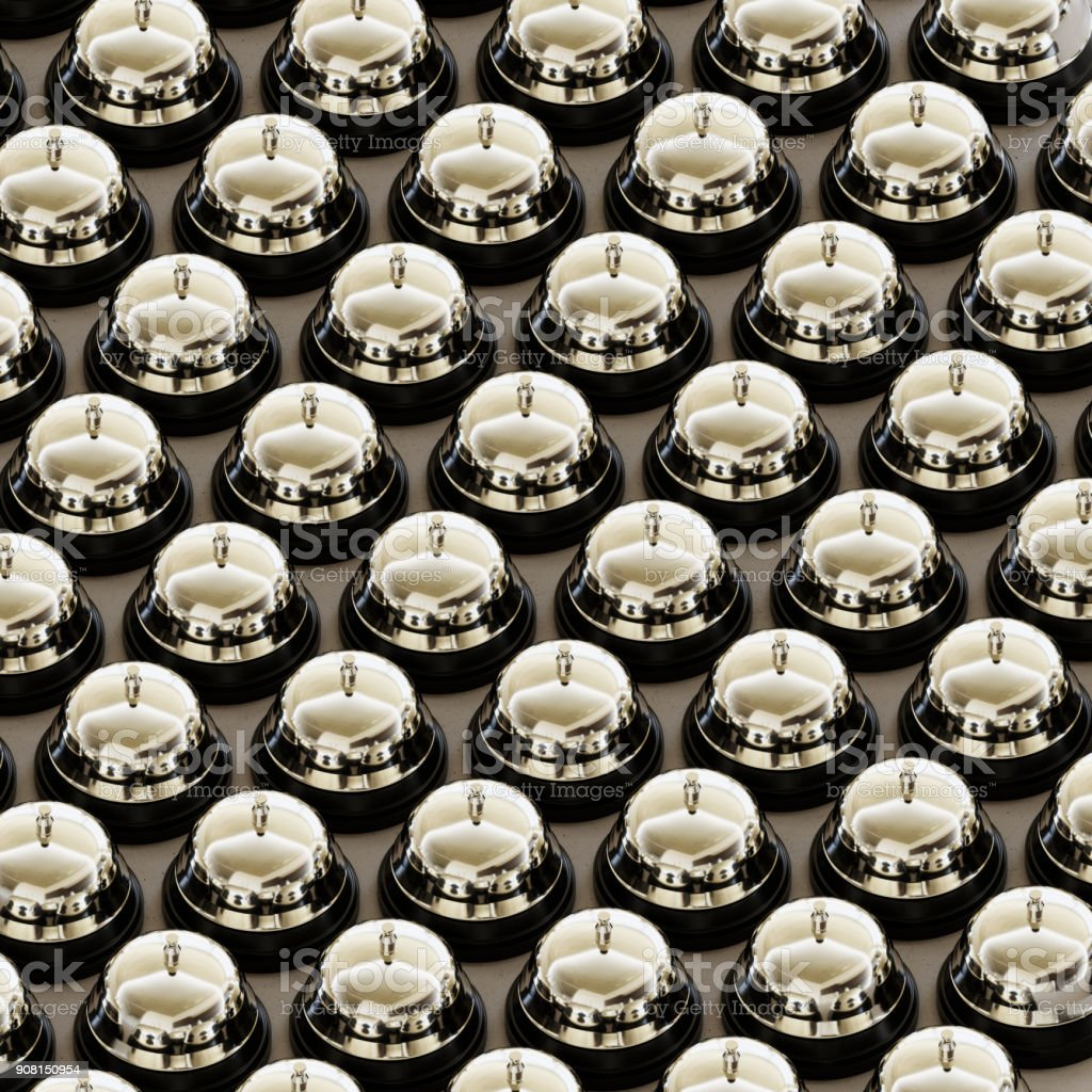 Isometric Chrome Reception Bells in a Tight Grid on a Simple Concrete Surface stock photo