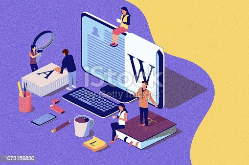 Isometric concept creative writing or blogging, education and content management for web page, banner, social media, documents, cards, posters. illustration for news, copywriting.Noise texture.