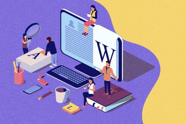 isometric concept creative writing or blogging, education and content management for web page, banner, social media, documents, cards, posters. illustration for news, copywriting.noise texture. - advertising isometric stock pictures, royalty-free photos & images