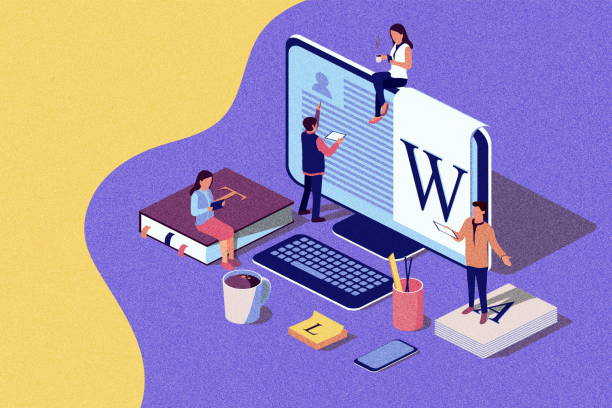 isometric concept education. illustration for online education, online training, internet studying, online book, tutorials, e-learning for social media, documents, cards. noise texture. - advertising isometric stock photos and pictures
