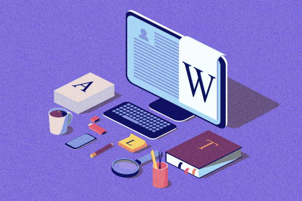 isometric concept for blog, blogging concept, post, content strategy, social media, chatting. illustration for web page, social media, documents. noise texture. - advertising isometric stock photos and pictures