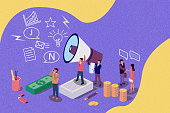 istock Isometric concept for Human resources. Group of people shouting on megaphone with we are hiring word vintage illustration for web page, banner, presentation, social media, documents, cards, posters. 1073159392
