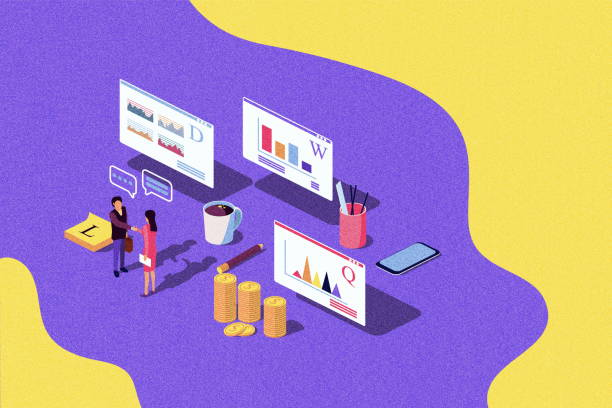isometric concept performance evaluation success business, growth of teamwork, startup. vector illustration for web page, banner, presentation, social media. quality control. noise texture - advertising isometric stock pictures, royalty-free photos & images