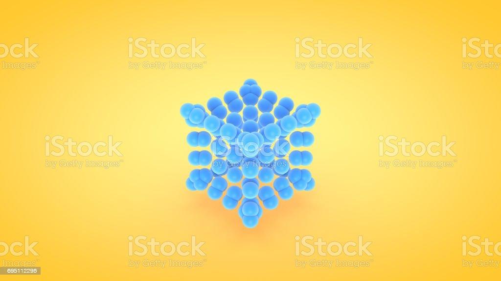 Isometric cube atom array illustration, 3D rendering stock photo