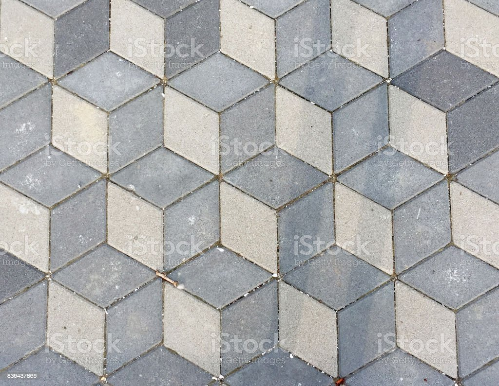 Isometric cube patterned pavement stock photo