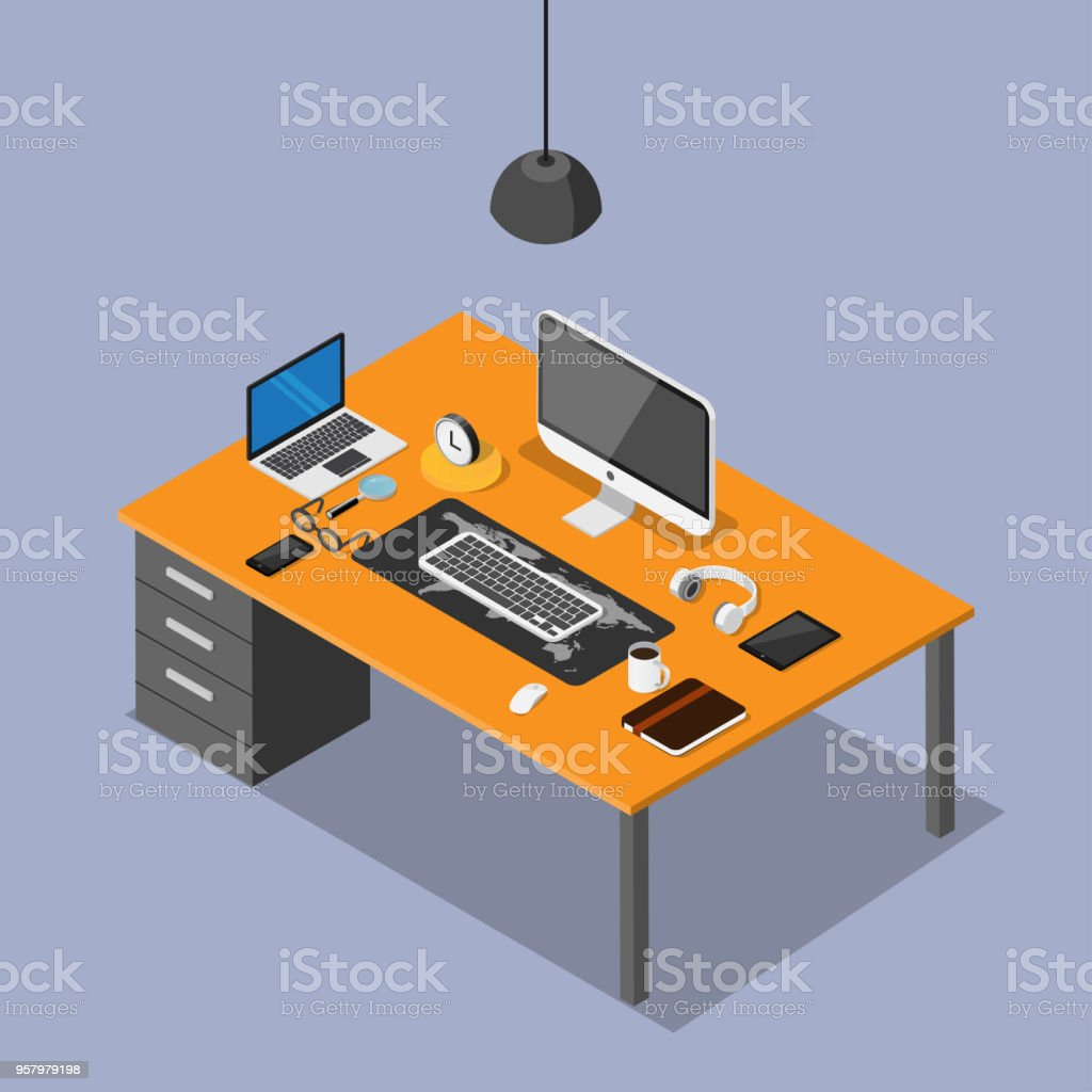3D isometric desk of workplace and technology stock photo