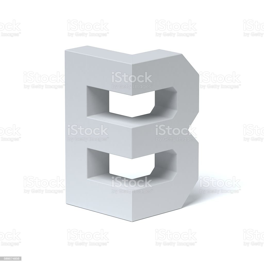 Isometric font letter B stock photo