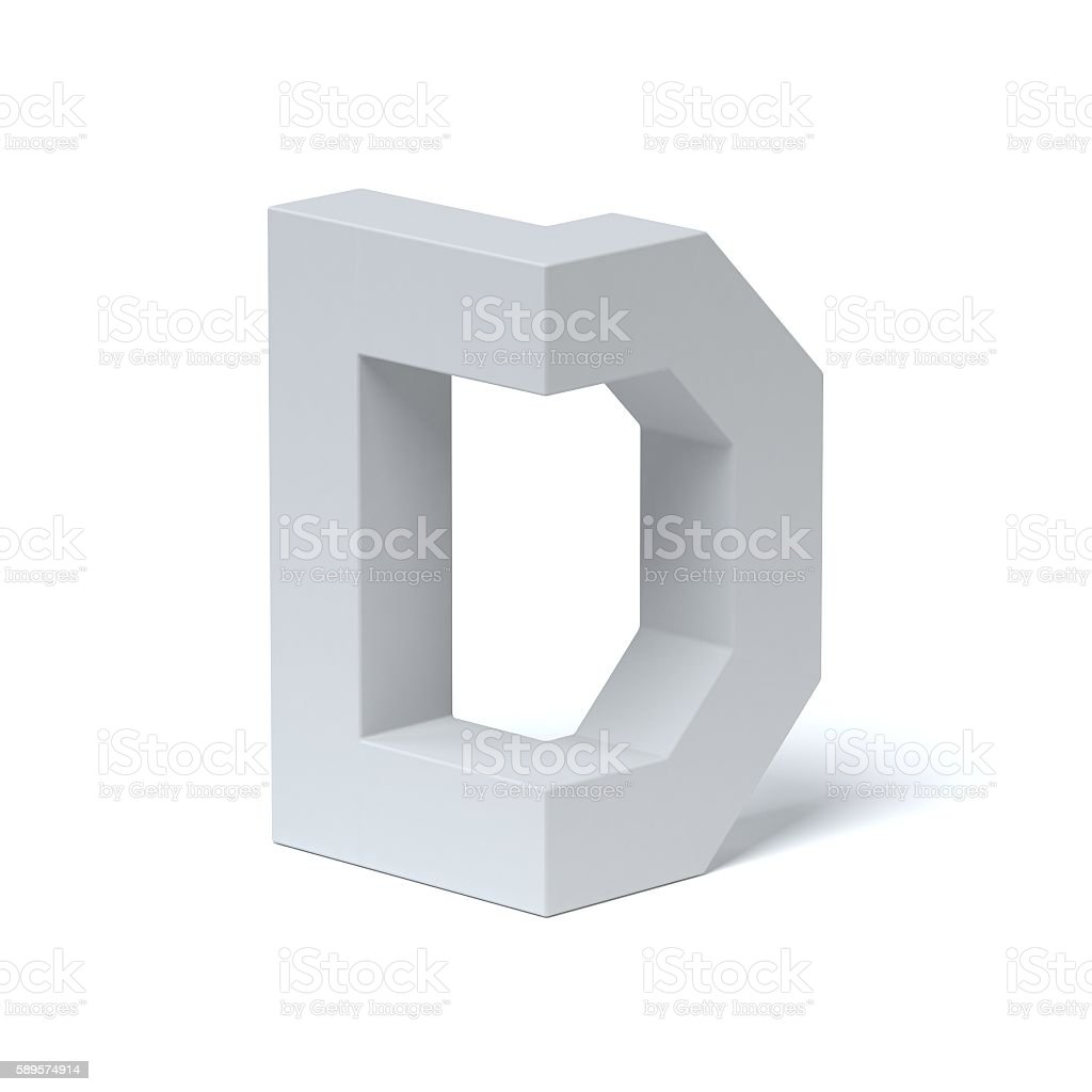 Isometric font letter D stock photo
