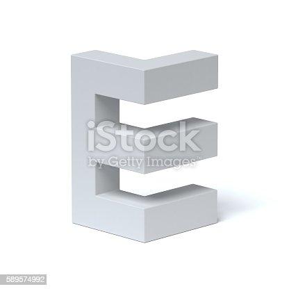 istock Isometric font letter E 589574992