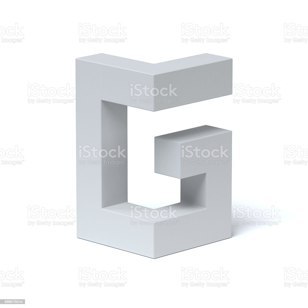 Isometric font letter G stock photo