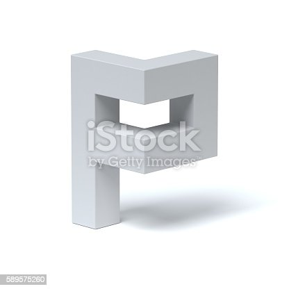 istock Isometric font letter P 589575260