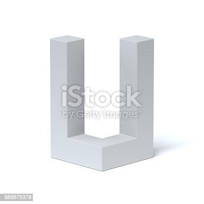istock Isometric font letter U 589575378