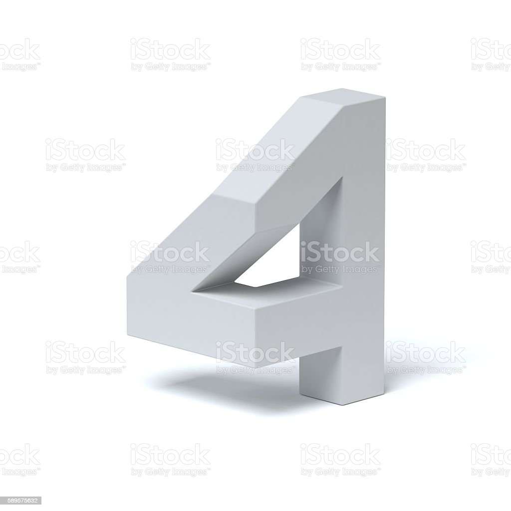 Isometric font number 4 stock photo