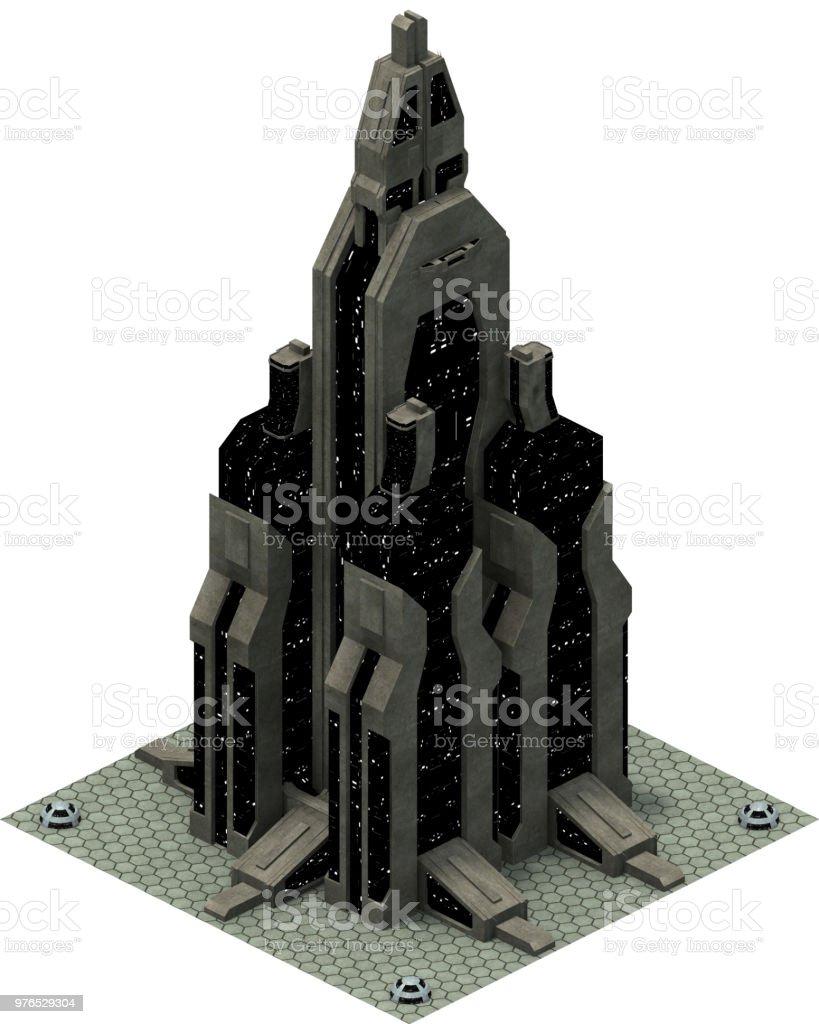 Isometric Futuristic Scifi Architecture 3d Rendering Stock