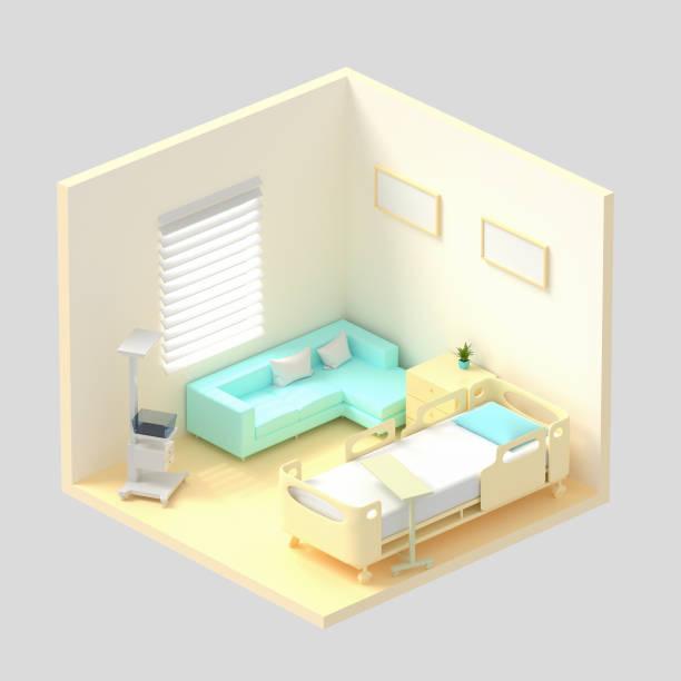 Hospital isométrico representación 3d de la sala. Cama de paciente de lujo, equipamiento hospitalario, cómodo sofá en la sala. Hospital moderno, concepto de salud. - foto de stock