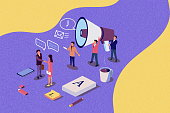 istock Isometric illustration concept. People shou into the microphone with Refer a friend words Content for web page, banner, social media, documents, cards, posters. Illlustration for news, copywriting, seminars. Noise texture 1073159052