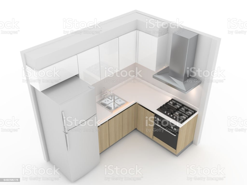 Isométrica Del Tipo De Cocina En Forma De L Diseño Interior ...
