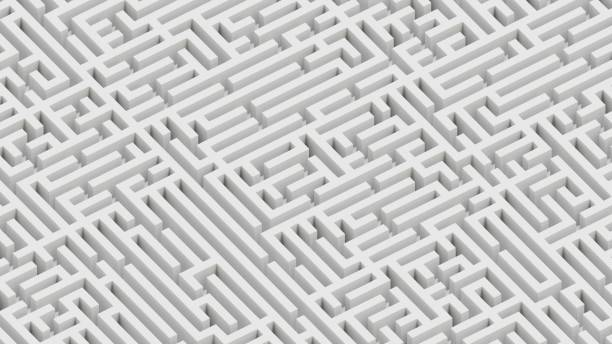 isometric perspective of an endless white maze landscape - complexity stock photos and pictures