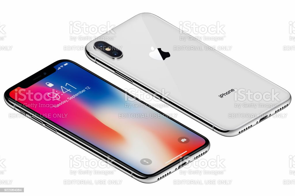 Isometric Silver Apple iPhone X front side with iOS 11 lockscreen and back side isolated on white background stock photo