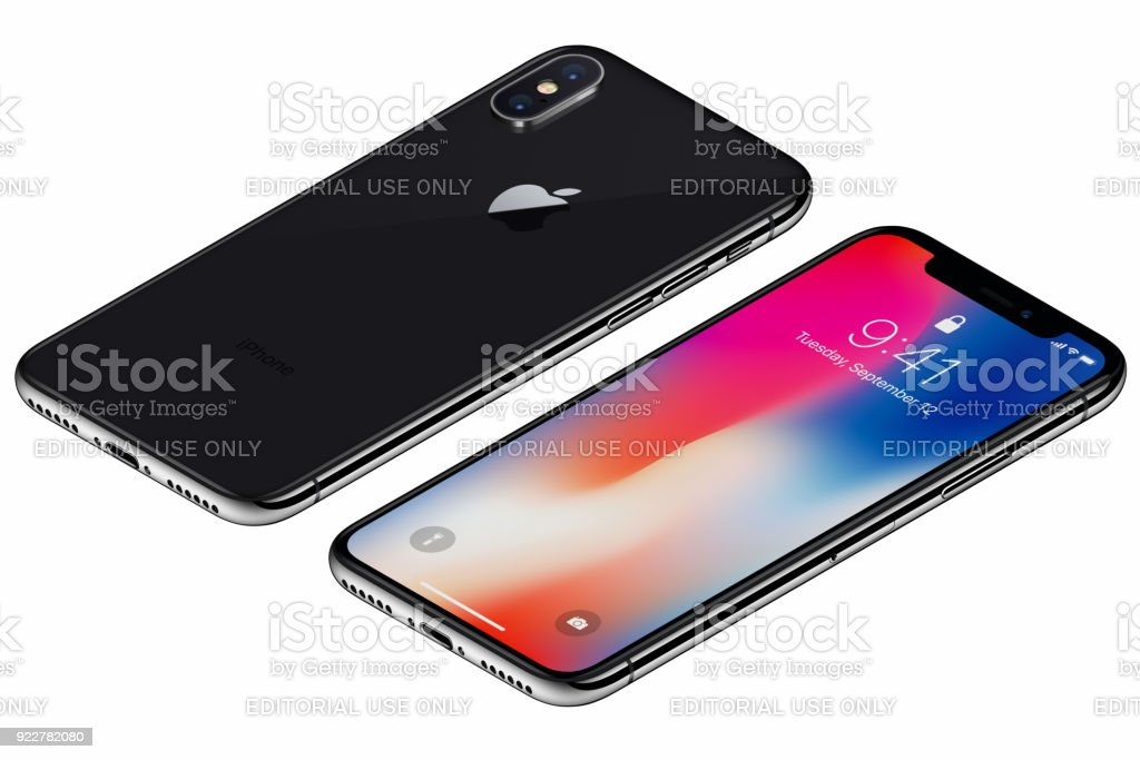 Isometric Space Gray Apple iPhone X front side with iOS 11 lockscreen and back side isolated on white background stock photo