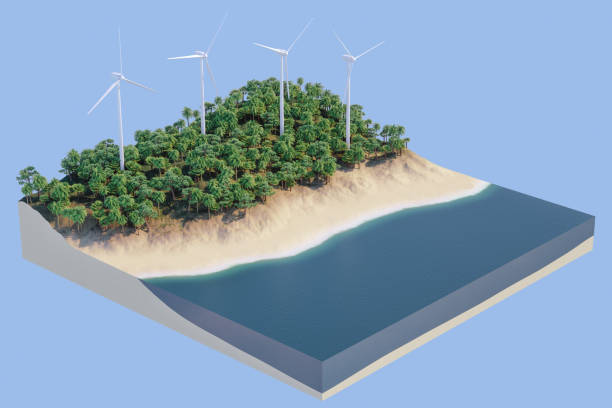Isometric Tropical Environment With Wind Turbines stock photo