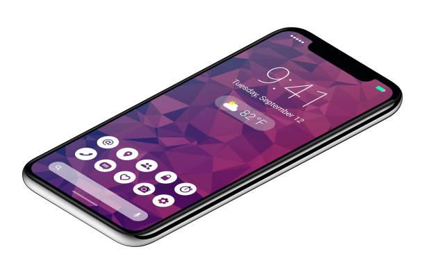 isometrischen ansicht rahmenlose smartphone-konzept mit materialdesign flachen ui-schnittstelle - winkel stock-fotos und bilder