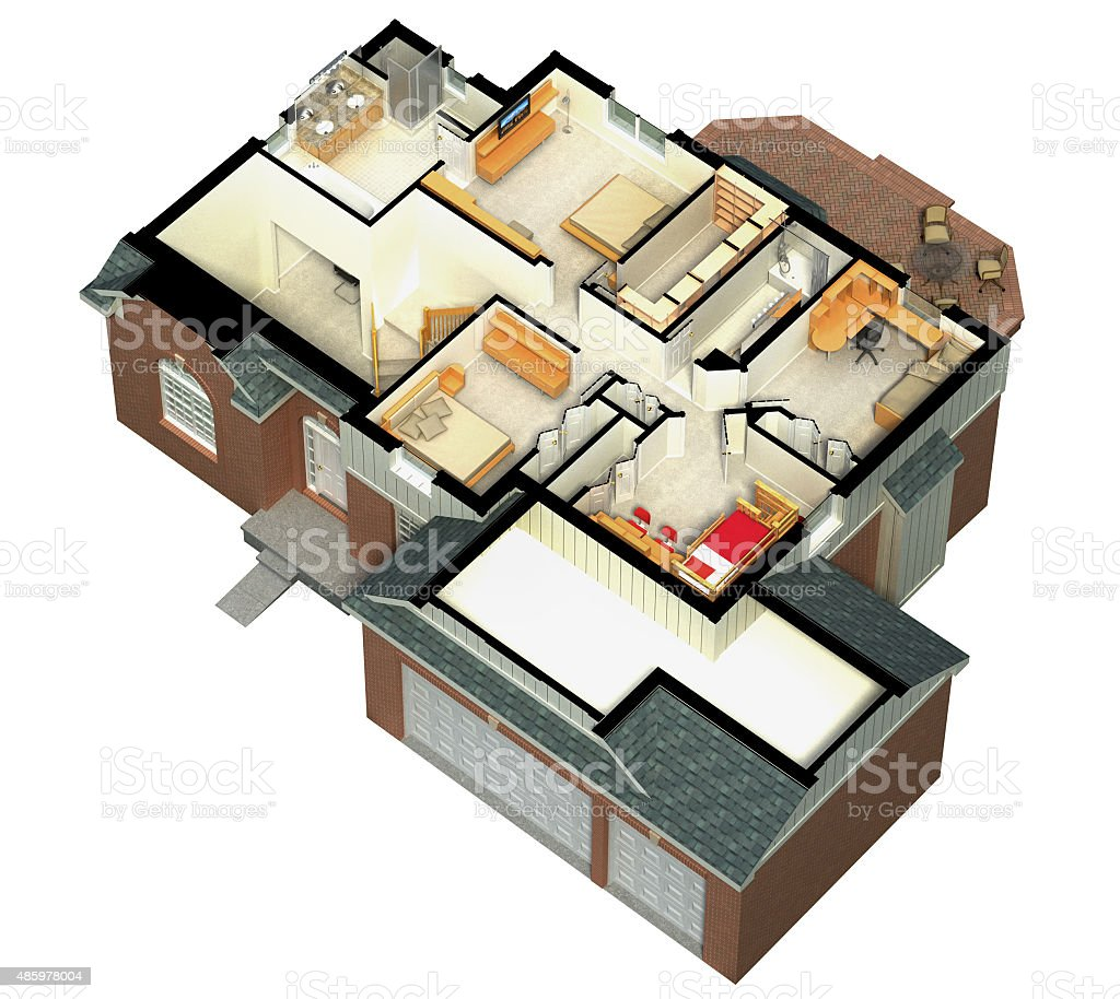 Isometric view of a furnished house stock photo