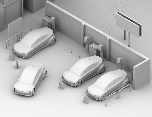 isometric view of clay shading rendering of electric cars in parking lot - advertising isometric stock photos and pictures