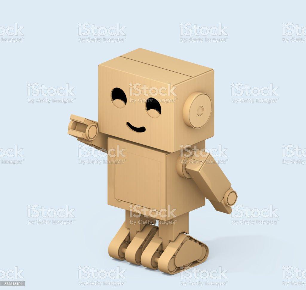 귀여운 골 판지 로봇 밝은 파란색 배경에 고립의 아이소메트릭 뷰 스톡 사진