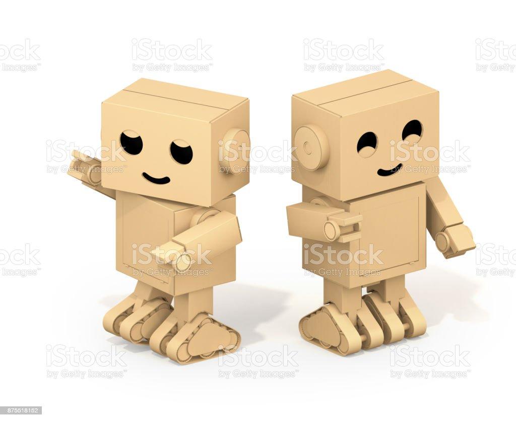 귀여운 골 판지 로봇 흰색 배경에 고립의 아이소메트릭 뷰 스톡 사진