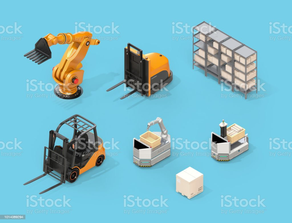 Isometrische Ansicht der Elektro-Stapler, autonome Gabelstapler, AGV, Industrieroboter auf blauem Hintergrund – Foto