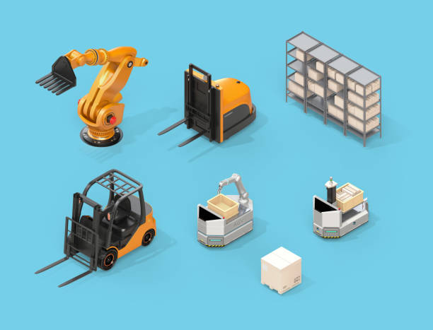 Isometric view of electric forklift, autonomous forklift, AGV, industrial robot on blue background stock photo