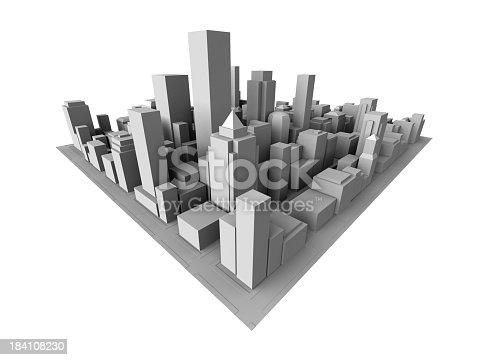849191980 istock photo Isometric view of gray 3D city 184108230