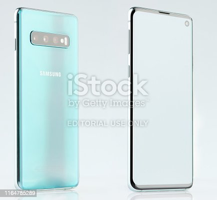 New york, USA - June 28, 2019: Isometric view of Samsung galaxy s10 isolated on white studio background