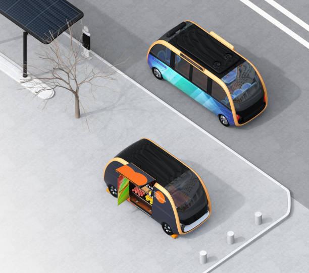 Isometrische Ansicht der autonom fahrenden Bus vorbei ein vending Auto auf der Straße – Foto