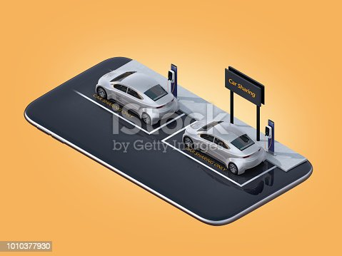 501071464 istock photo Isometric view of silver electric cars parking on smartphone 1010377930
