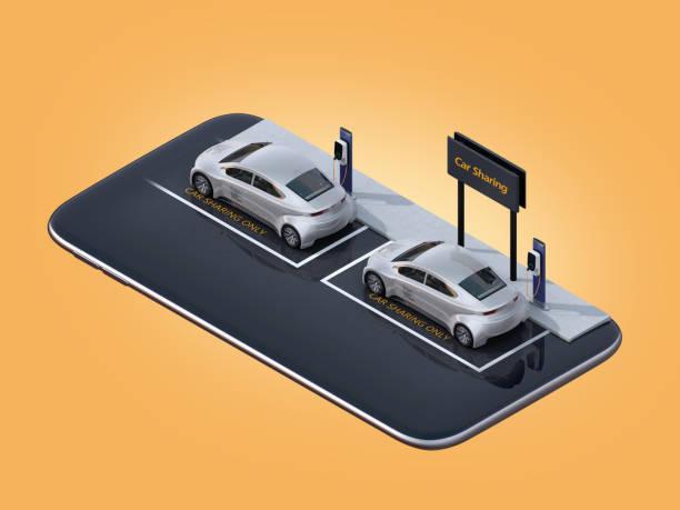 Vista isométrica del plata coches eléctricos en smartphone - foto de stock