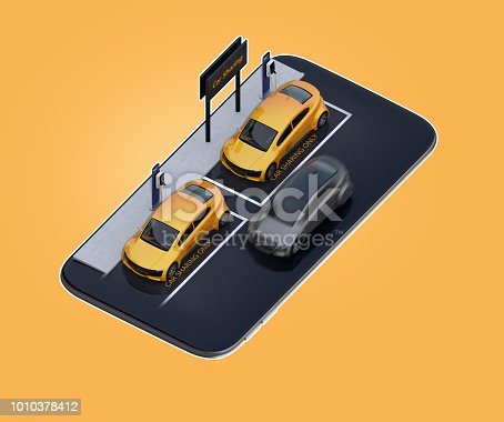 istock Isometric view of yellow electric cars parking on smartphone 1010378412