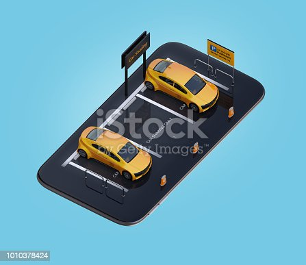 501071464 istock photo Isometric view of yellow electric cars parking on smartphone 1010378424