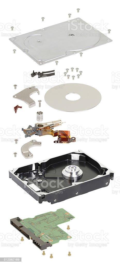 isometry. disassembled Жесткий диск на белом фоне стоковое фото