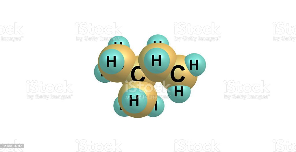 Isopentane molecular structure isolated on white stock photo