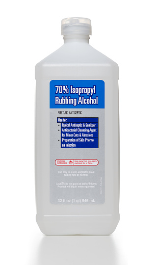 Isopropyl Rubbing Alcohol Bottle Stock Photo - Download Image Now