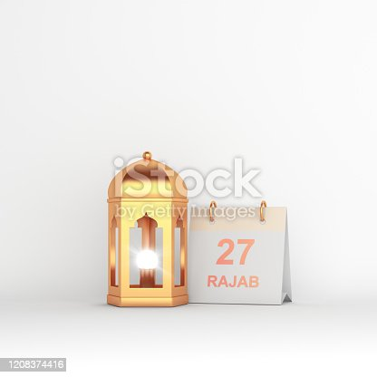 istock Isra' and Mi'raj Arabic Islamic concept, Gold arabic lantern and rajab   27 arabic calendar on white background. 3d rendering illustration 1208374416
