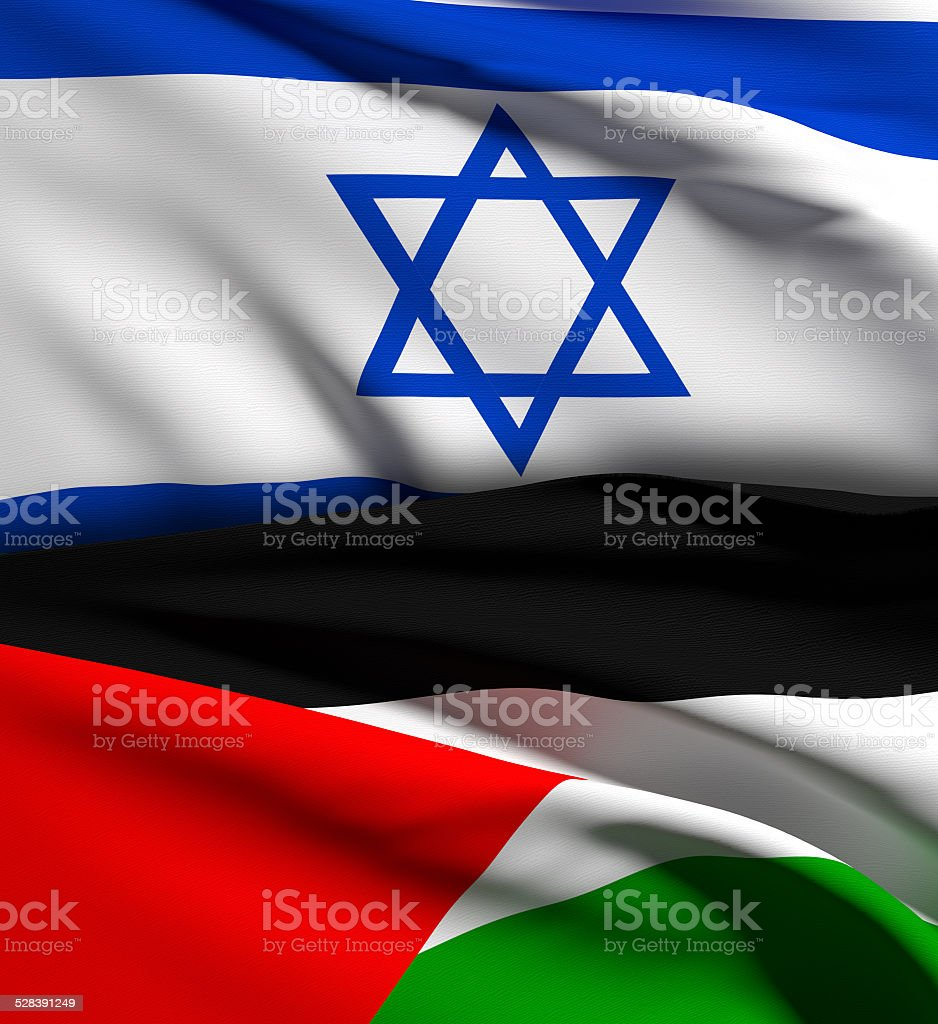 israel and palestine flag stock photo